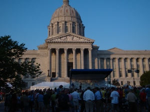 Awards ceremony outside Missouri Capitol.