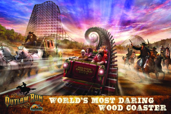 Outlaw Run features an 81-degree drop and a cork screw turn, both unique for a wooden roller-coaster.