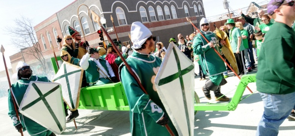 Knights march in the annual St. Pat's Parade in Rolla.